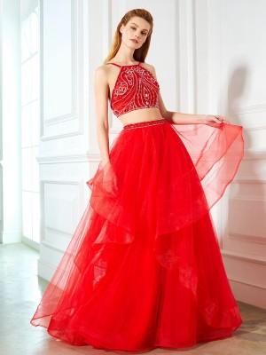 A-Line/Princess Spaghetti Straps Sleeveless Floor-Length Beading Tulle Two Piece Dresses