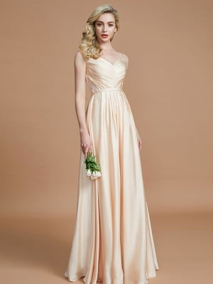 A-Line/Princess V-neck Sleeveless Ruched Floor-Length Satin Chiffon Bridesmaid Dresses