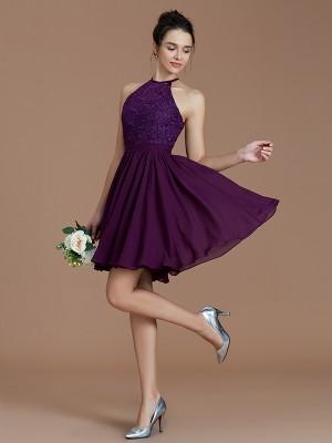 A-Line/Princess Halter Sleeveless Lace Short/Mini Chiffon Bridesmaid Dresses