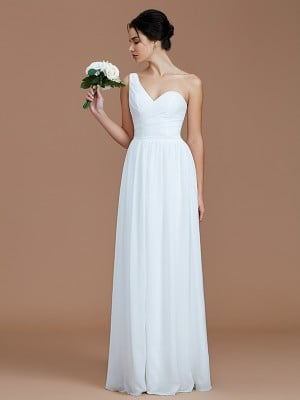 A-Line/Princess One-Shoulder Sleeveless Ruched Floor-Length Chiffon Bridesmaid Dresses