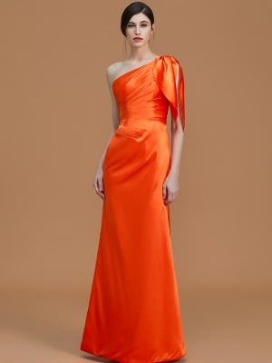 Trumpet/Mermaid One-Shoulder Sleeveless Floor-Length Ruched Satin Bridesmaid Dresses