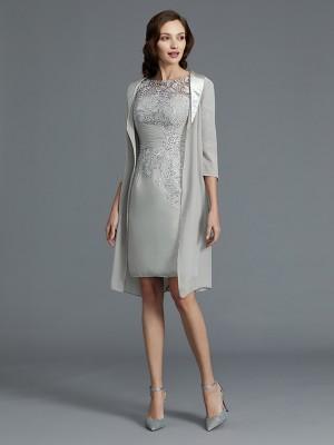 Sheath/Column Scoop 1/2 Sleeves Chiffon Short/Mini Mother of the Bride Dresses