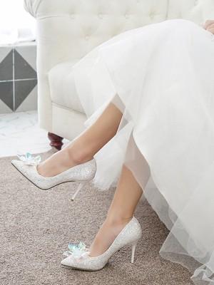 Women's Closed Toe With Crystal Stiletto Heel High Heels