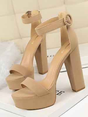 Women's PU Chunky Heel With Buckle Peep Toe Sandals