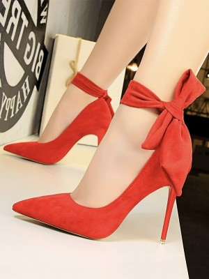 Women's Stiletto Heel Suede With Bowknot Closed Toe High Heels