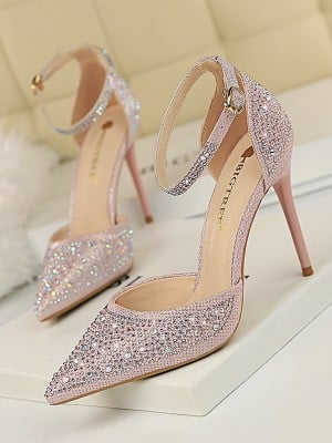 Women's Stiletto Heel Closed Toe PU With Rhinestone High Heels