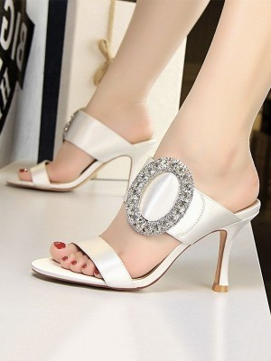 Women's Silk With Rhinestone Stiletto Heel Peep Toe Sandals