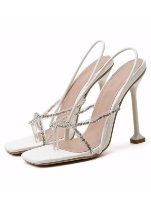Women's PU Peep Toe Rhinestone Stiletto Heel Sandals