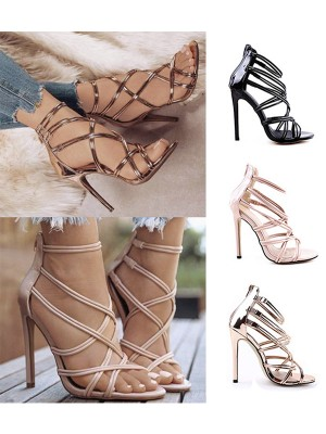 Women's Peep Toe PU Stiletto Heel With Zipper Sandals