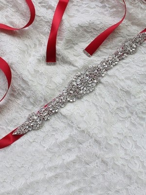 Fashion Satin Sashes With Rhinestones