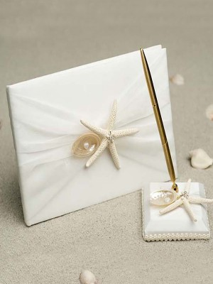 Pretty Cloth With Starfish/Shell Guestbook & Pen Set