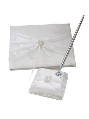 Bright Cloth With Rhinestone/Applique Guestbook & Pen Set