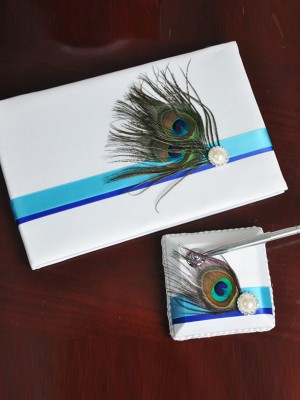 Awesome Cloth With Feather/Pearl Guestbook & Pen Set