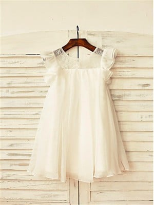 A-line/Princess Scoop Short Sleeves Lace Tea-Length Chiffon Flower Girl Dresses