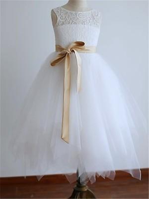 A-line/Princess Scoop Sleeveless Sash/Ribbon/Belt Tea-Length Tulle Flower Girl Dresses