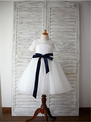 A-line/Princess Scoop 1/2 Sleeves Sash/Ribbon/Belt Tea-Length Tulle Flower Girl Dresses