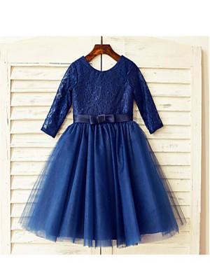 A-line/Princess Scoop Long Sleeves Lace Tea-Length Tulle Flower Girl Dresses