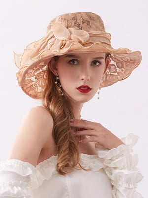 Ladies' Special Lace Silk Flower Adjustable Beach/Sun Hats
