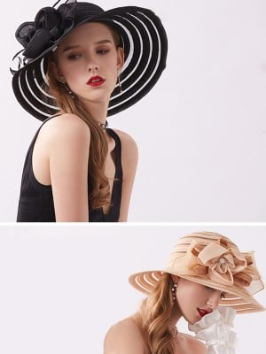 Ladies' Beautiful Silk Flower Adjustable Beach/Sun Hats