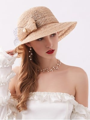 Ladies' Charming Lace Bowknot Adjustable Beach/Sun Hats