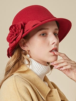Ladies' Elegant Wool Silk Flower Floppy Hats