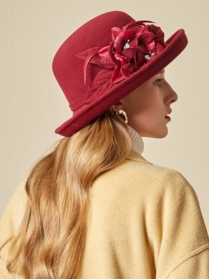 Ladies' Nice Wool Silk Flower Floppy Hats