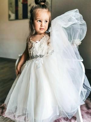 A-Line/Princess Tulle Lace V-neck Sleeveless Ankle-Length Flower Girl Dresses