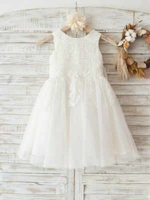 A-Line/Princess Tulle Lace Scoop Sleeveless Knee-Length Flower Girl Dresses