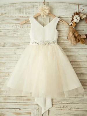 A-Line/Princess Knee-Length V-neck Bowknot Sleeveless Tulle Flower Girl Dresses