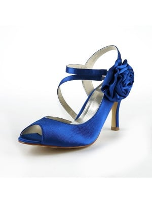 Women's Gorgeous Satin Stiletto Heel Peep Toe With Flower White Wedding Shoes