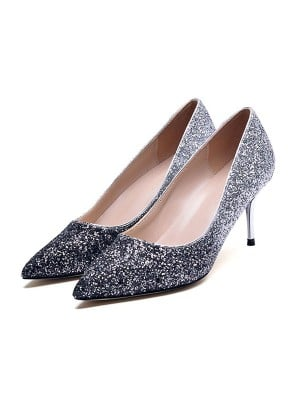 Women's Sequins Closed Toe With Sparkling Glitter Stiletto Heel High Heels