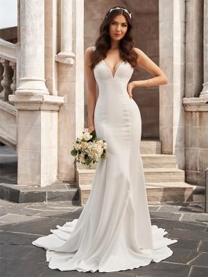 Trumpet/Mermaid Stretch Crepe V-neck Ruffles Sleeveless Court Train Wedding Dresses