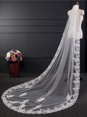 Fancy Tulle With Lace Long Wedding Veils