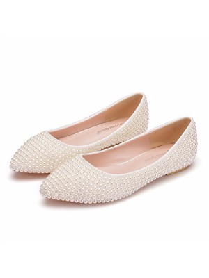 Women's PU Closed Toe With Pearl Flat Heel Flat Shoes