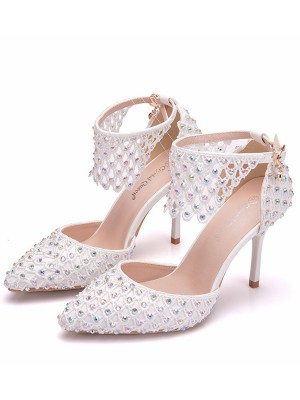 Women's PU Closed Toe With Rhinestone Stiletto Heel High Heels