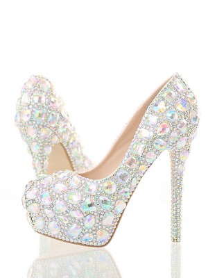 Women's PU Closed Toe Stiletto Heel With Rhinestone High Heels