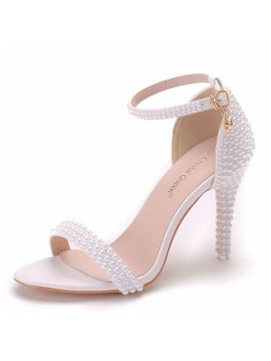 Women's PU Peep Toe With Beading Stiletto Heel Sandals