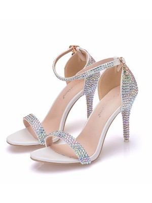 Women's PU Peep Toe With Rhinestone Stiletto Heel Sandals