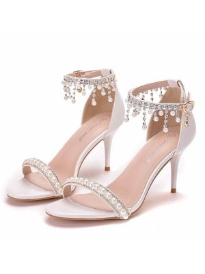 Women's PU Peep Toe With Pearl Stiletto Heel Sandals