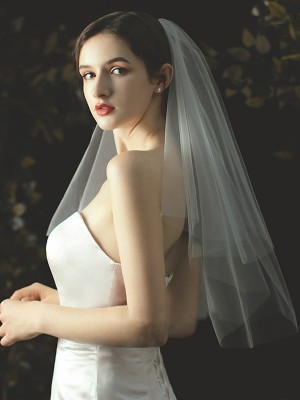 Fancy Tulle Cut Edge Elbow Wedding Veils