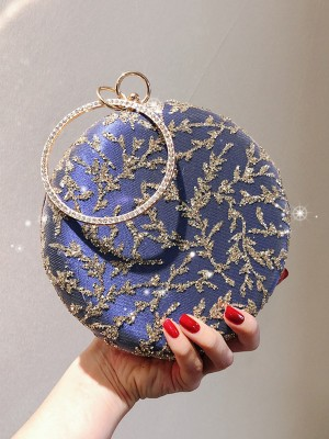 Round PU Evening/Party Handbags With Rhinestone