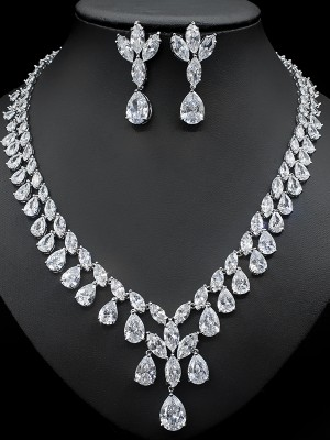 Trending Copper With Zircon Jewelry Sets For Women