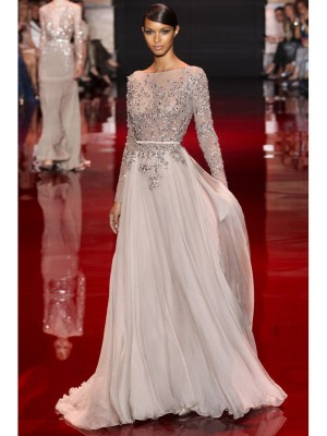 A-line/Princess High Neck Long Sleeves Applique Sweep/Brush Train Chiffon Dresses