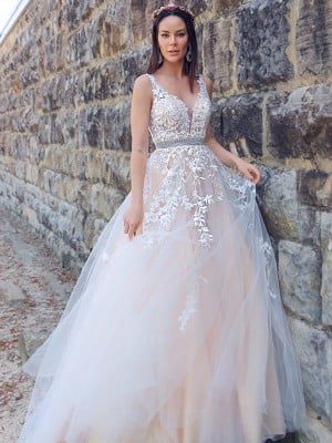A-Line/Princess Applique Tulle Sleeveless V-neck Sweep/Brush Train Dresses