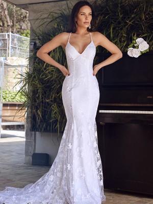 Trumpet/Mermaid Sleeveless Tulle Lace Spaghetti Straps Court Train Wedding Dresses