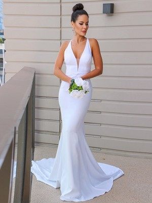 Sheath/Column Satin V-neck Ruched Sleeveless Sweep/Brush Train Wedding Dresses