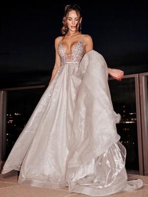 A-Line/Princess Tulle V-neck Sleeveless Beading Sweep/Brush Train Dresses