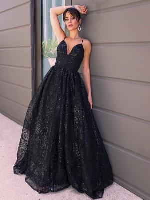 A-Line/Princess V-neck Sequins Sleeveless Sequin Sweep/Brush Train Dresses