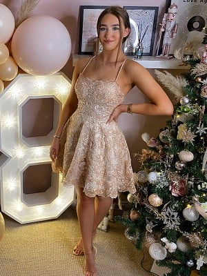 A-Line/Princess Spaghetti Straps Lace Sleeveless Applique Short/Mini Dresses