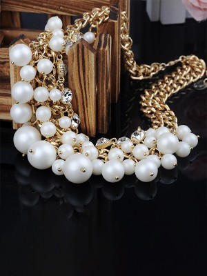 Graceful Alloy With Pearl Chokers For Ladies